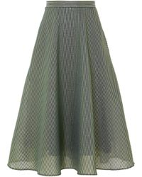 Cefinn - Striped Metallic Cotton-blend Midi Skirt - Lyst
