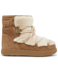 Moncler - New Fanny Shearling-paneled Glittered Suede Snow Boots - Lyst