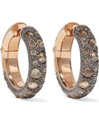 Pomellato - 18-karat Rose Gold Diamond Hoop Earrings Rose Gold One Size - Lyst
