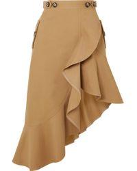 Self-Portrait - Asymmetric Ruffled Cotton-canvas Skirt - Lyst
