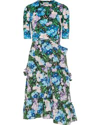 Balenciaga - Gathered Floral-print Jersey And Crepe Dress - Lyst