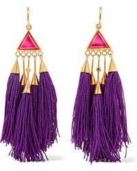 Katerina Makriyianni - Tasseled Gold-tone Crystal Earrings - Lyst