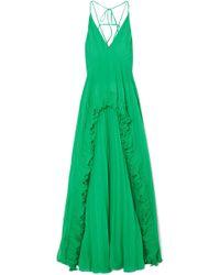 Halston - Ruffled Plissé-chiffon Maxi Dress - Lyst