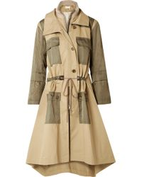 Chloé - Gabardine And Wool-blend Trimmed Twill Trench Coat - Lyst