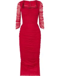 Dolce & Gabbana - Ruched Stretch-tulle Midi Dress - Lyst