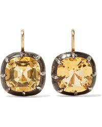 Fred Leighton - Collection 18-karat Gold, Silver And Citrine Earrings - Lyst