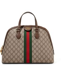 Gucci - Ophidia Textured Leather-trimmed Printed Coated-canvas Tote - Lyst