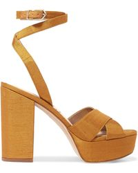 Sam Edelman - Mara Slub Satin Platform Sandals - Lyst