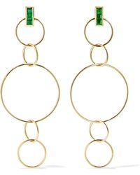 Ileana Makri - Fancy Hoops 18-karat Gold Emerald Earrings - Lyst