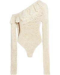 Magda Butrym - Natal One-shoulder Ruffled Crocheted Cotton-blend Bodysuit - Lyst