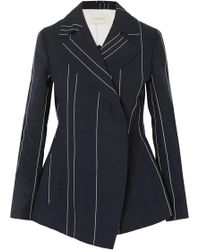 Cedric Charlier - Striped Linen And Cotton-blend Blazer - Lyst