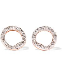 Monica Vinader - Riva Circle Rose Gold Vermeil Diamond Earrings - Lyst