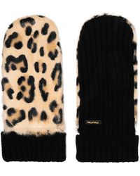 Miu Miu - Leopard-print Calf Hair And Cashmere Mittens - Lyst