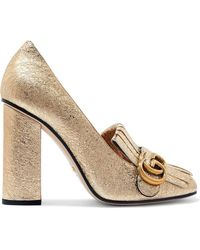 Gucci - Marmont Fringed Metallic Cracked-leather Pumps - Lyst