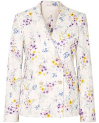 Max Mara - Double-breasted Floral-print Linen Blazer - Lyst