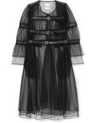 Noir Kei Ninomiya - Buckled Faux Leather-trimmed Tulle Jacket - Lyst