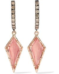 Larkspur & Hawk - Caprice Kite 14-karat Rose Gold, Diamond And Quartz Earrings - Lyst