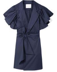 Johanna Ortiz - Tulip Evolution Ruffled Stretch-cotton Poplin Wrap Mini Dress - Lyst