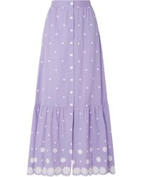 Miguelina - Aiden Embroidered Cotton-voile Maxi Skirt - Lyst