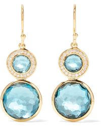 Ippolita - Lollipop 18-karat Gold, Topaz And Diamond Earrings - Lyst