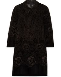 Anna Sui - Rose Basket Devoré-velvet Mini Dress - Lyst