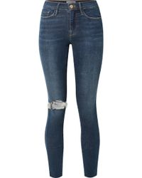 FRAME - Le Skinny De Jeanne Distressed Mid-rise Jeans - Lyst