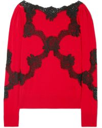 Dolce & Gabbana - Lace-trimmed Wool-blend Jumper - Lyst