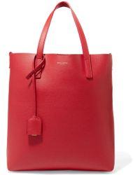 Saint Laurent - Shopper Textured-leather Tote - Lyst