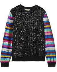 Mary Katrantzou - Striped Sequined Jersey Sweatshirt - Lyst