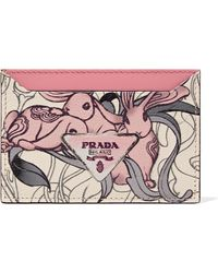 Prada - Printed Textured-leather Cardholder - Lyst