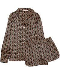 Stella McCartney - Poppy Snoozing Printed Stretch Silk-satin Pyjama Set - Lyst