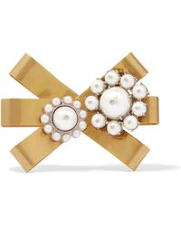 Miu Miu - Gold-plated, Silver-tone And Faux Pearl Brooch - Lyst