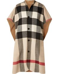 Burberry - Reversible Checked Wool-blend Cape - Lyst