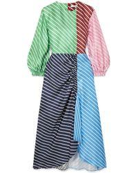 Tibi - Delphina Ruched Striped Silk-twill Midi Dress - Lyst