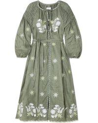 Innika Choo - Smocked Embroidered Linen Dress - Lyst