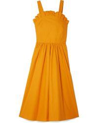 Sea - Sunrise Lace-up Ruffled Cotton-blend Midi Dress - Lyst