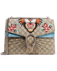 Gucci - Dionysus Medium Appliquéd Coated-canvas And Suede Shoulder Bag - Lyst