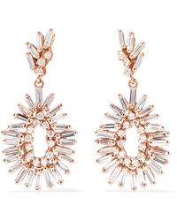 Suzanne Kalan - 18-karat Rose Gold Diamond Earrings - Lyst