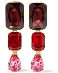 Oscar de la Renta - Gold-tone Crystal Clip Earrings - Lyst
