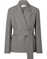 The Row - Jenia Belted Wool And Silk-blend Jacket - Lyst