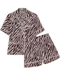 Olivia Von Halle - Millicent Printed Silk-satin Pyjama Set - Lyst