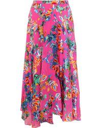 Saloni - Ida-b Floral-print Devoré-chiffon Midi Skirt - Lyst