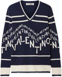 Valentino - Intarsia Wool And Cashmere-blend Jumper - Lyst
