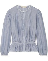 Vanessa Bruno - Ikola Lace-trimmed Striped Cotton And Tencel-blend Blouse - Lyst