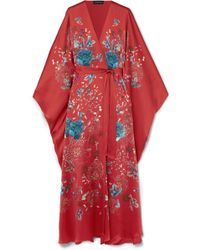Meng - Exclusive Printed Silk-satin Robe - Lyst