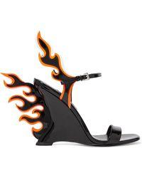 Prada - Patent-leather Wedge Sandals - Lyst