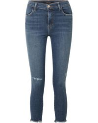 J Brand - Alana Cropped Distressed High-rise Skinny Jeans - Lyst