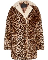 R13 - Oversized Shearling-lined Leopard-print Faux Fur Coat - Lyst