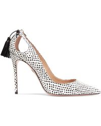 Aquazzura - Forever Marilyn Cutout Tasseled Printed Watersnake Pumps - Lyst