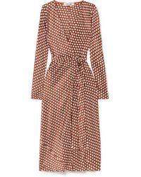 Diane von Furstenberg - Tilly Polka-dot Silk-satin Wrap Dress - Lyst